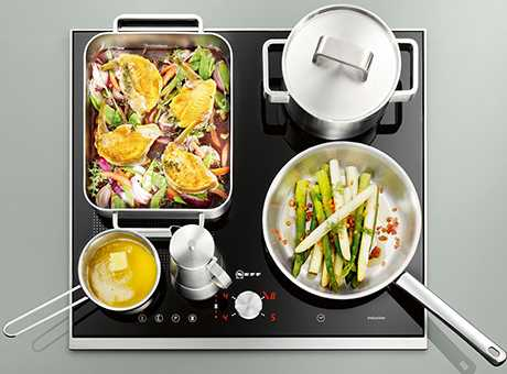 Image of induction hob with flex pan placement
