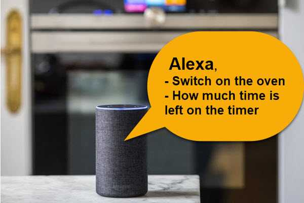 Image of Alexa being given commands for the oven