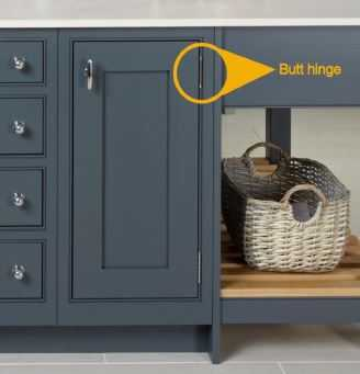 Image of a butt hinge on a kitchen