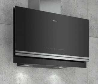 image of a chimney style hood in black glass