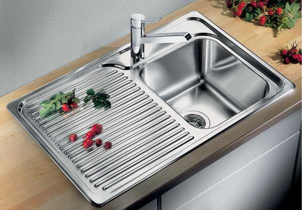 Image of an inset stainless steel sink