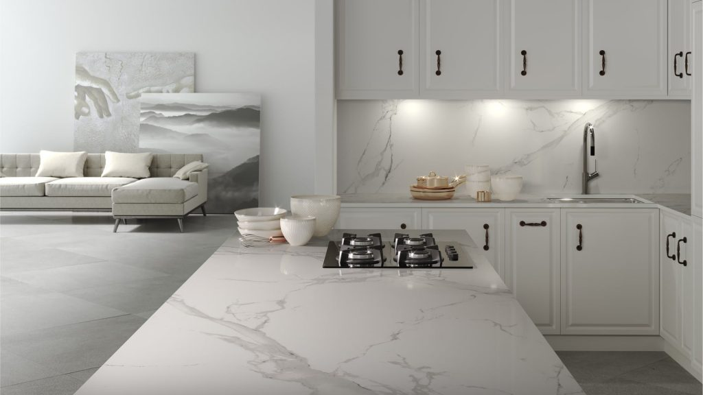 Image of a kitchen Dekton worktops in veined white