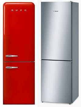 A red and silver fridge freezer