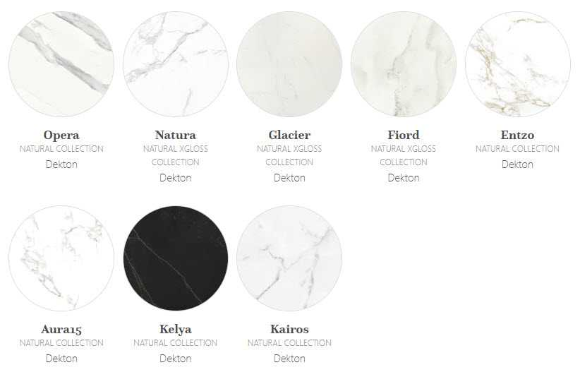 Image of natural marbled effect Dekton colours