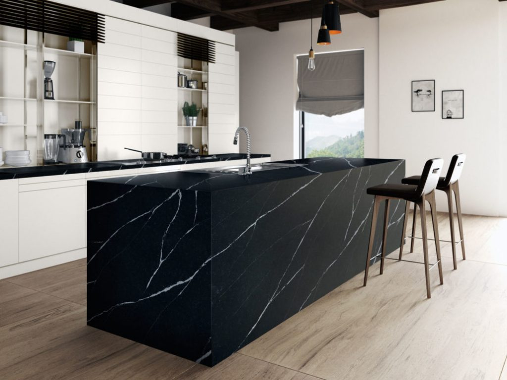 Image of a kitchen island with a striking quartz worktop