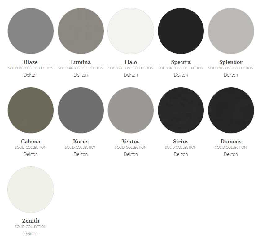 Image of solid Dekton colours