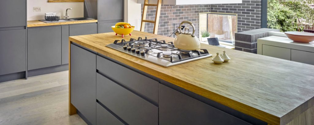 Image of a kitchen in Guildford with wooden worktops