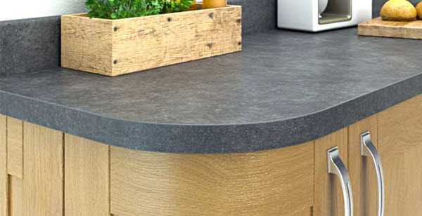 Image of square edged laminate worktop in grey