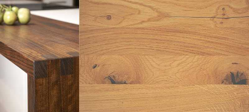 Image showing a dark wooden worktop and an oak top