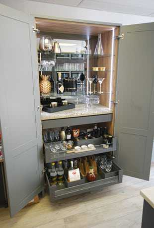 Image of a bespoke kitchen drinks cabinet