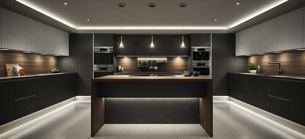 Image of a kitchen with Sensio lighting