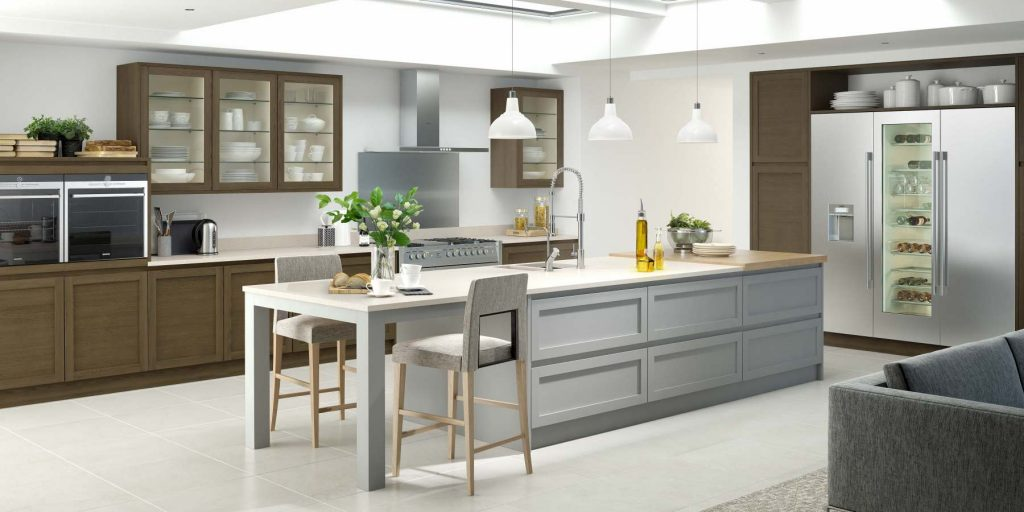 Image of a contrasting shaker kitchen in oak and light grey
