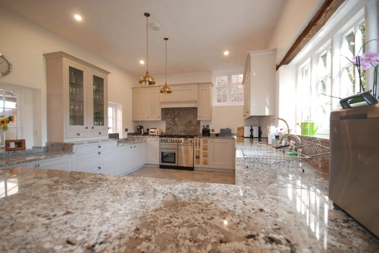 Panoramic photo of a kitchen installation in Ripley